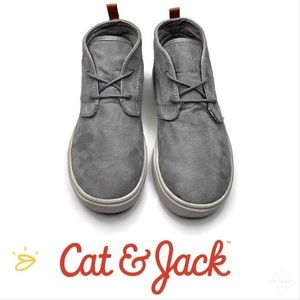 Cat & Jack Boys Mid-Top Grey/Brn Sneaker Sz 4